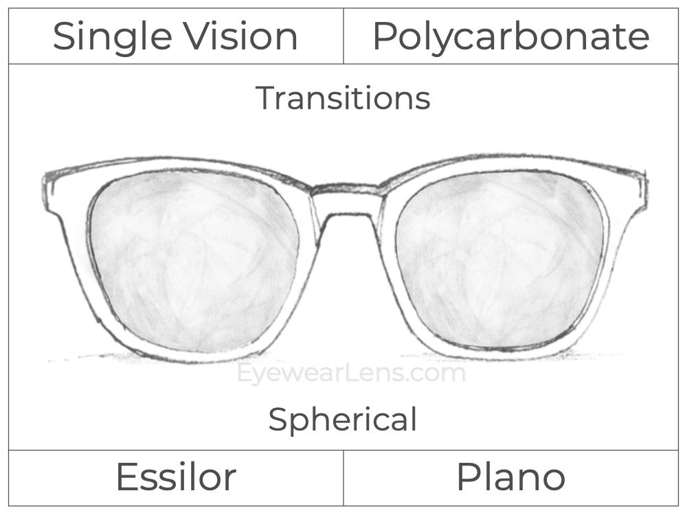 Single Vision - Polycarbonate - Transitions Signature - Spherical - Non-Prescription