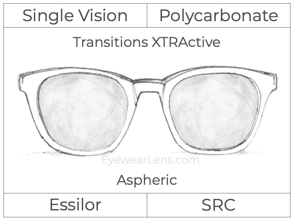 Single Vision - Polycarbonate - Transitions XTRActive - Aspheric