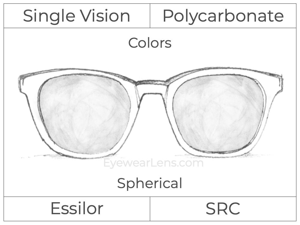 Single Vision - Polycarbonate - Essilor Colors - Spherical