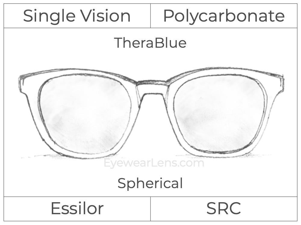 Single Vision - Polycarbonate - TheraBlue - Spherical