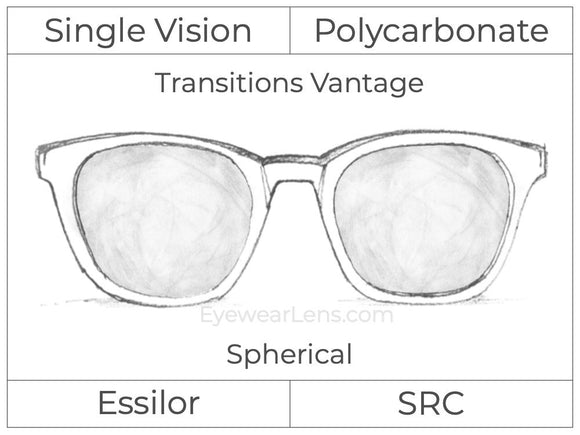Single Vision - Polycarbonate - Transitions Vantage - Spherical