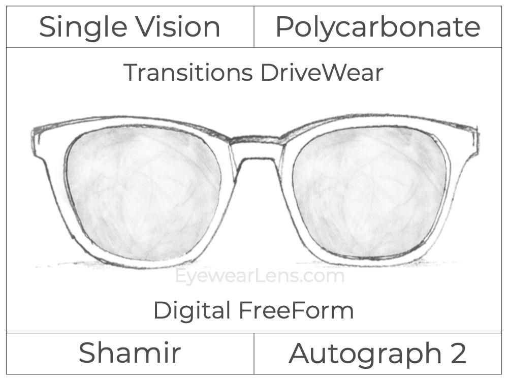 Single Vision - Polycarbonate - Shamir Autograph 2 - Digital FreeForm - Transitions DriveWear - Aspheric