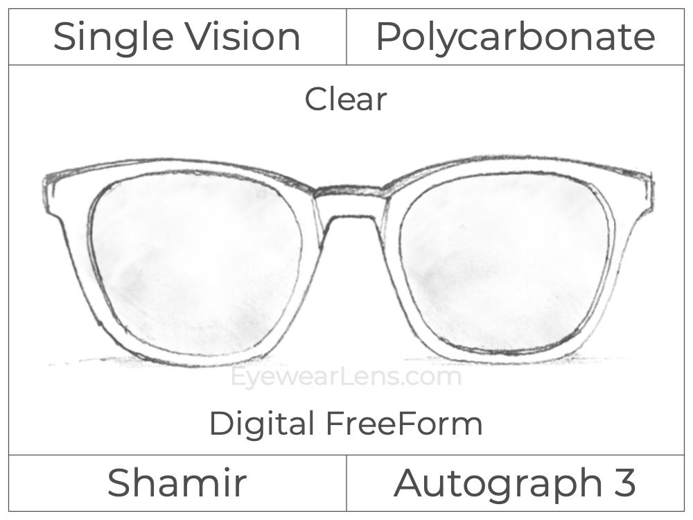 Single Vision - Polycarbonate - Shamir Autograph 3 - Digital FreeForm - Clear - Aspheric