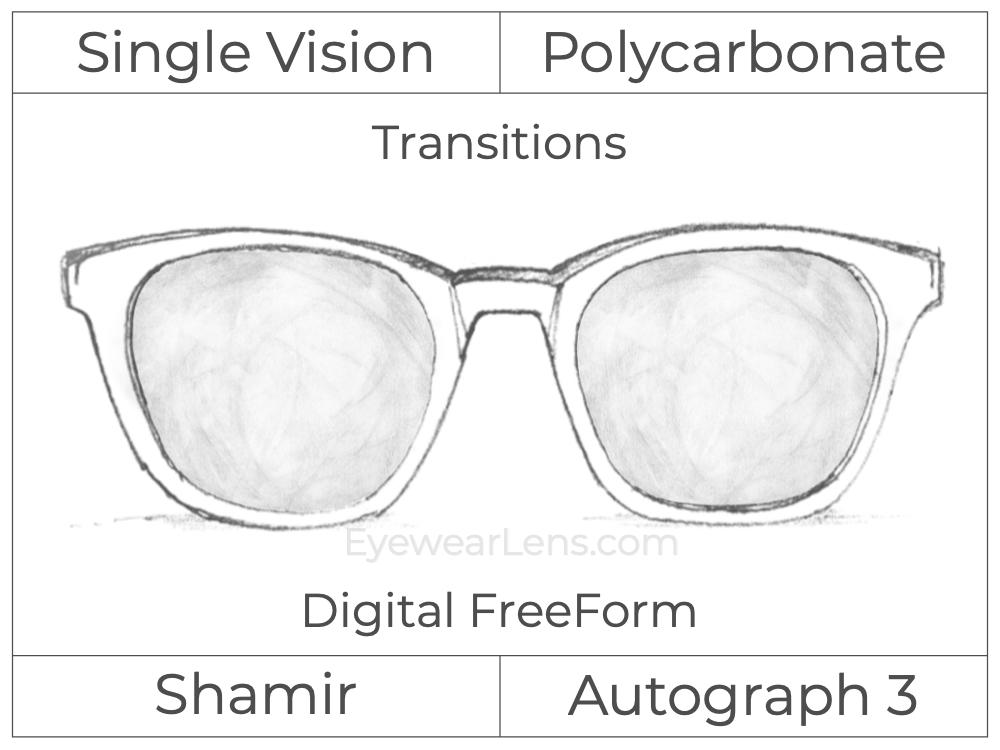 Single Vision - Polycarbonate - Shamir Autograph 3 - Digital FreeForm - Transitions Signature - Aspheric