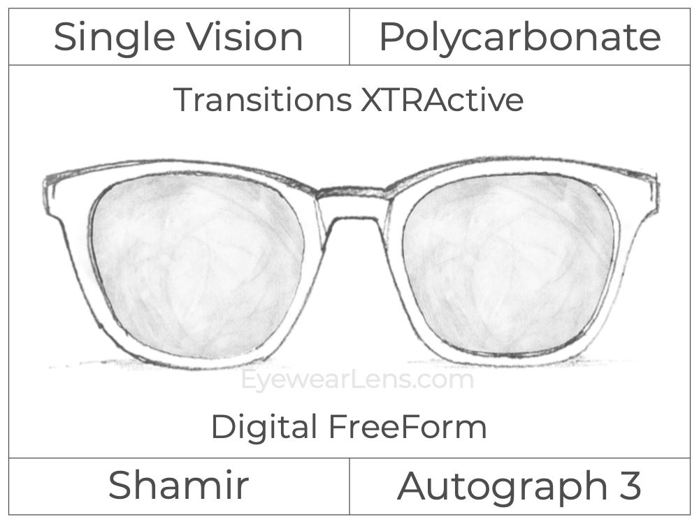 Single Vision - Polycarbonate - Shamir Autograph 3 - Digital FreeForm - Transitions XTRActive - Aspheric