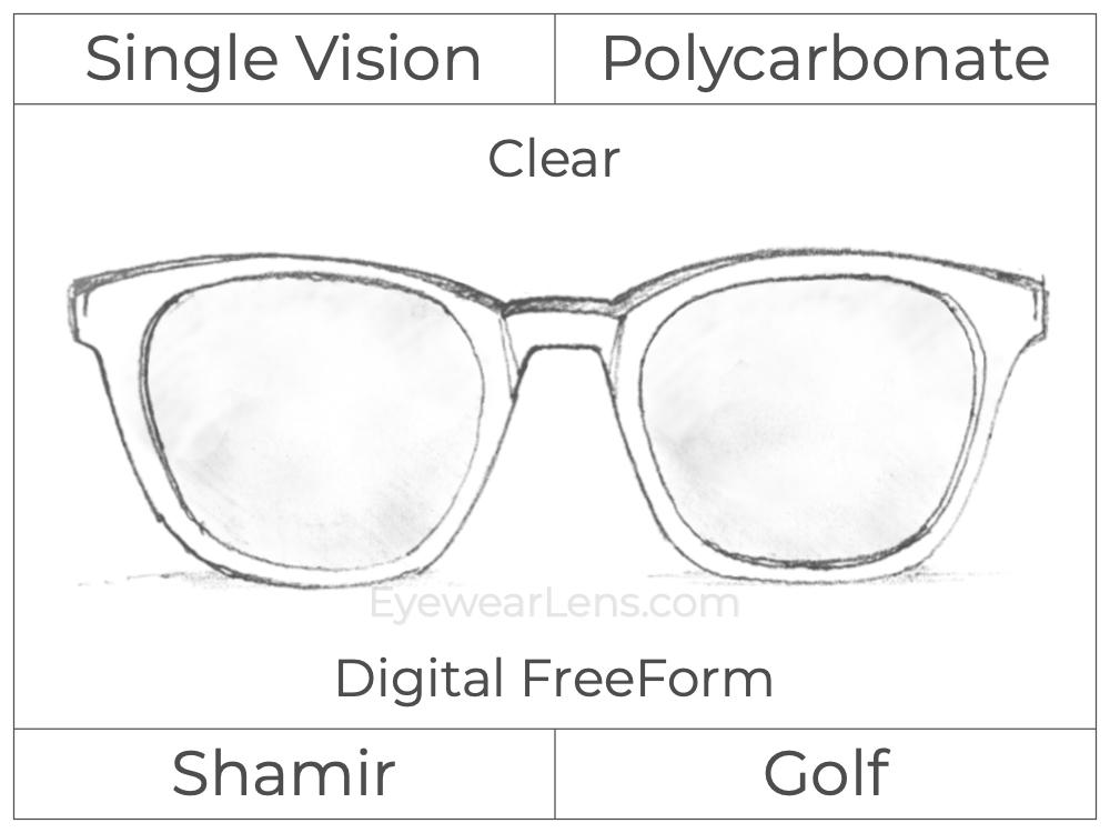 Single Vision - Polycarbonate - Shamir Golf - Digital FreeForm - Clear - Spherical