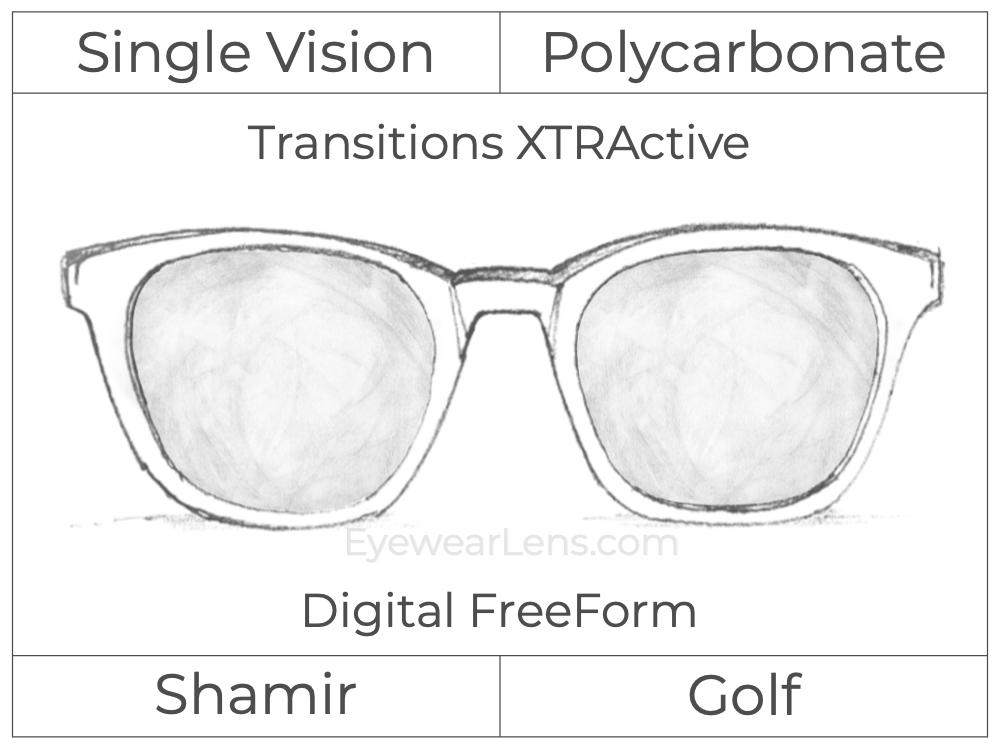 Single Vision - Polycarbonate - Shamir Golf - Digital FreeForm - Transitions XTRActive - Spherical