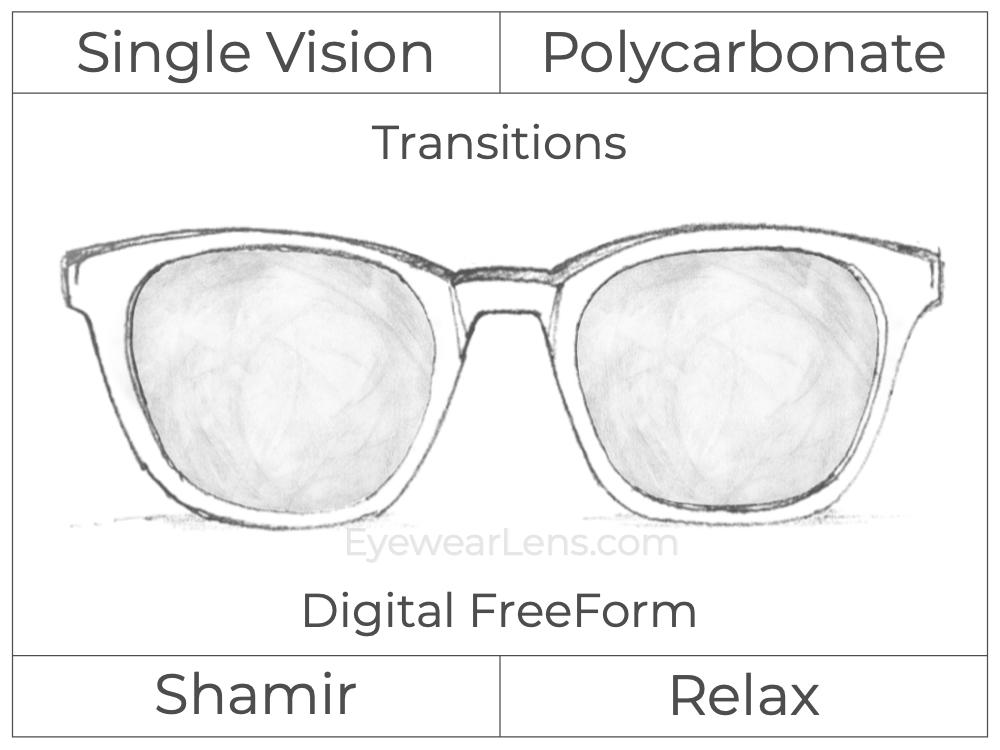 Single Vision - Polycarbonate - Shamir Relax - Digital FreeForm - Transitions Signature - Aspheric