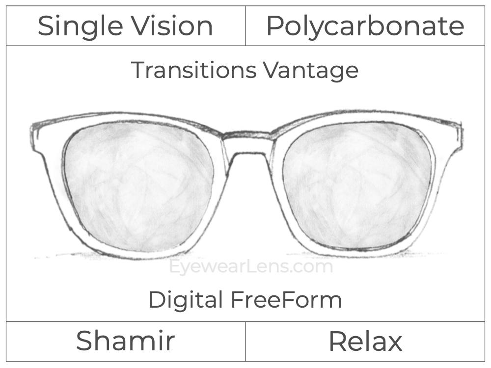 Single Vision - Polycarbonate - Shamir Relax - Digital FreeForm - Transitions Vantage - Aspheric