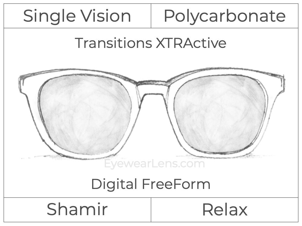 Single Vision - Polycarbonate - Shamir Relax - Digital FreeForm - Transitions XTRActive - Aspheric