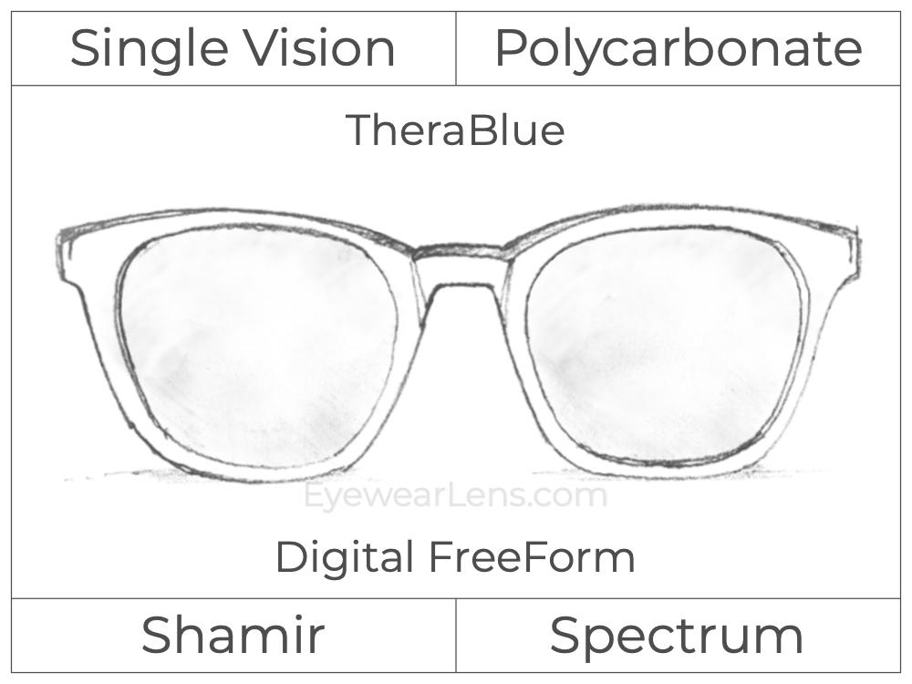 Single Vision - Polycarbonate - Shamir Spectrum - Digital FreeForm - TheraBlue - Aspheric