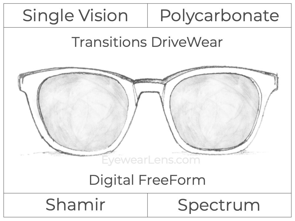 Single Vision - Polycarbonate - Shamir Spectrum - Digital FreeForm - Transitions DriveWear - Aspheric