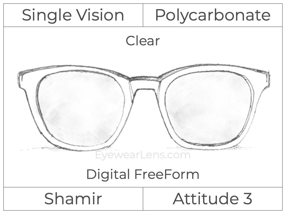 Single Vision - Polycarbonate - Shamir Attitude 3 - Digital FreeForm - Clear - Aspheric