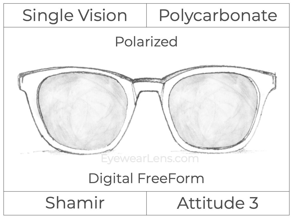 Single Vision - Polycarbonate - Shamir Attitude 3 - Digital FreeForm - Polarized - Aspheric