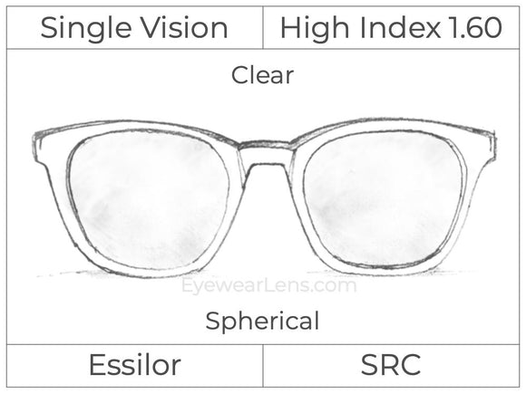 Single Vision - High Index 1.60 - Clear - Spherical