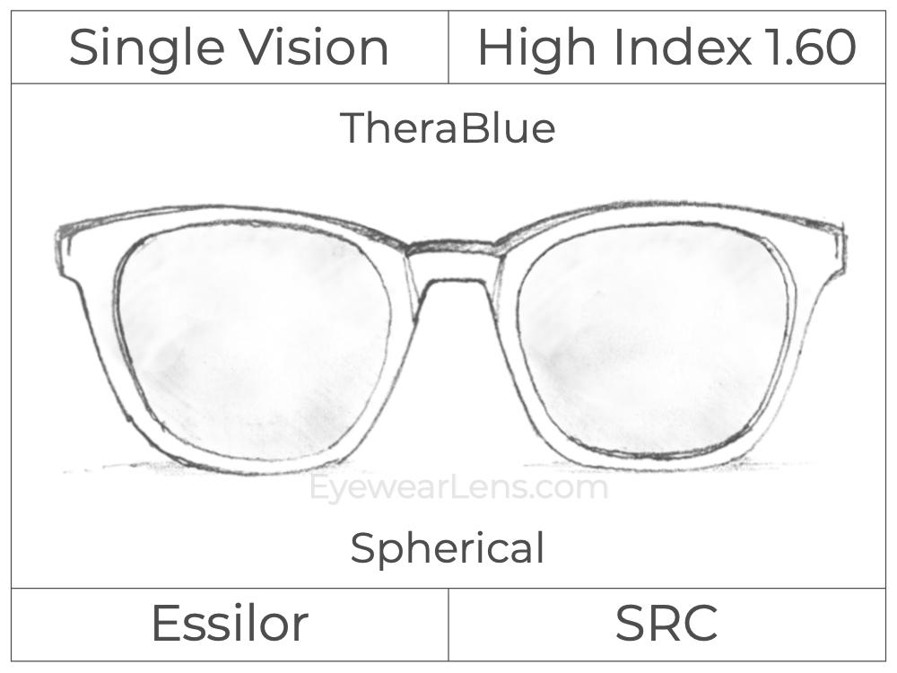 Single Vision - High Index 1.60 - TheraBlue - Spherical