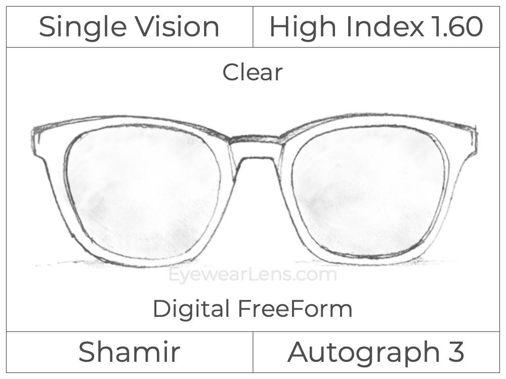 Single Vision - High Index 1.60 - Shamir Autograph 3 - Digital FreeForm - Clear - Aspheric