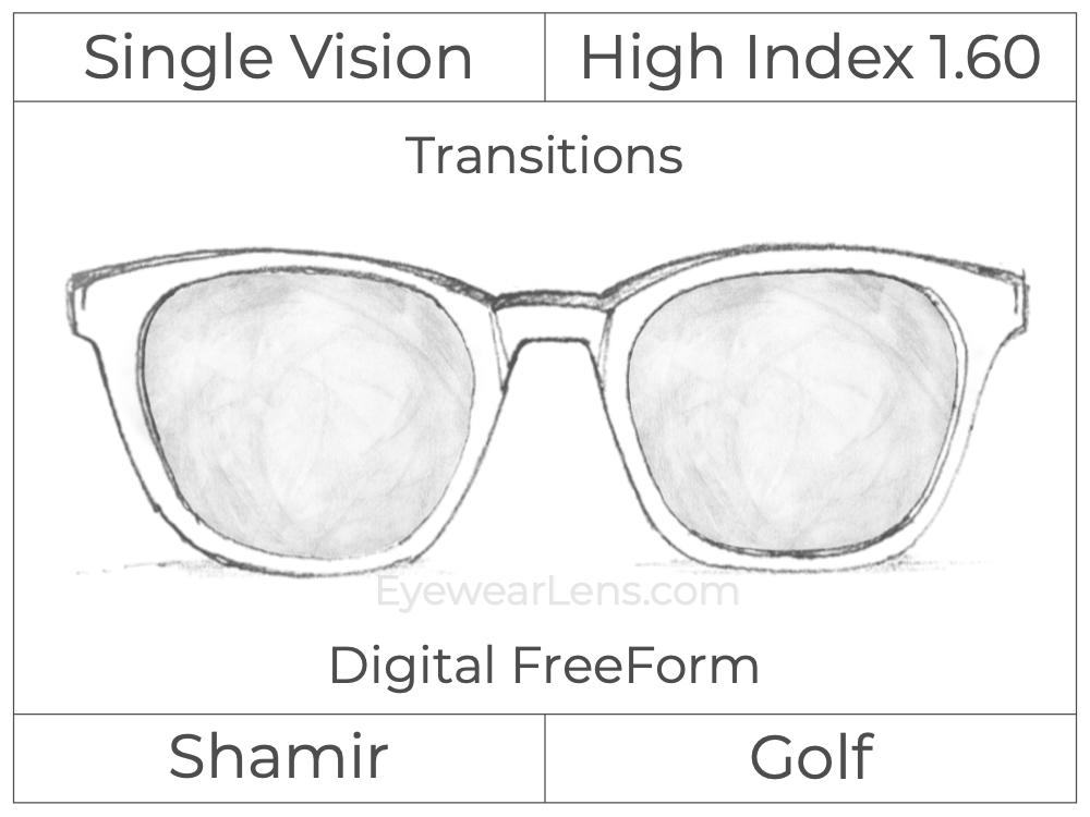 Single Vision - High Index 1.60 - Shamir Golf - Digital FreeForm - Transitions Signature - Spherical