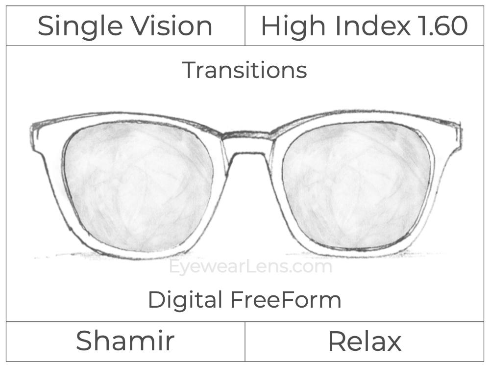 Single Vision - High Index 1.60 - Shamir Relax - Digital FreeForm - Transitions Signature - Aspheric