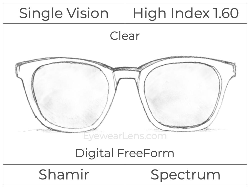 Single Vision - High Index 1.60 - Shamir Spectrum - Digital FreeForm - Clear - Aspheric