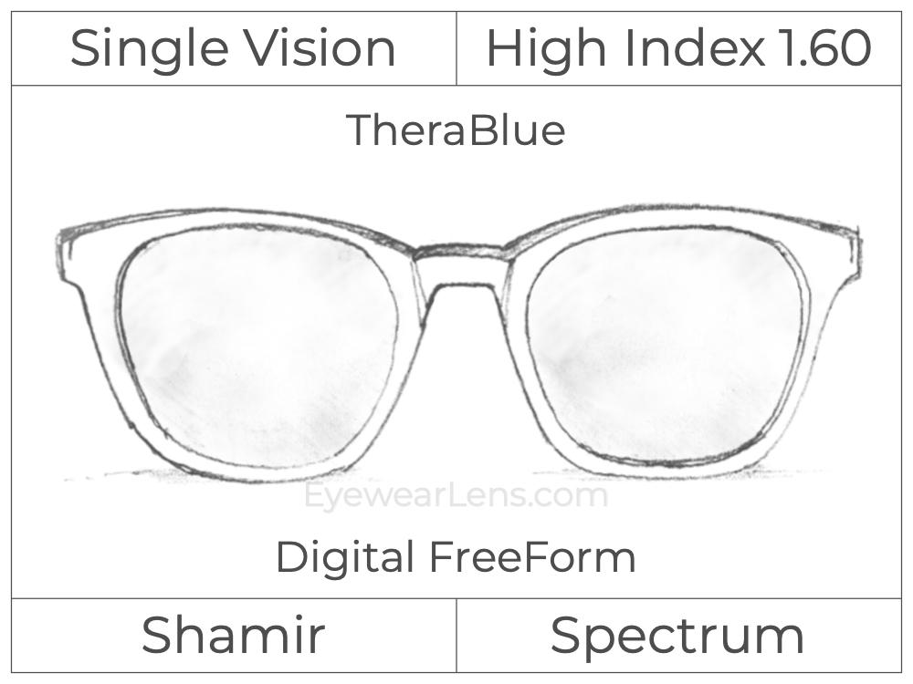 Single Vision - High Index 1.60 - Shamir Spectrum - Digital FreeForm - TheraBlue - Aspheric