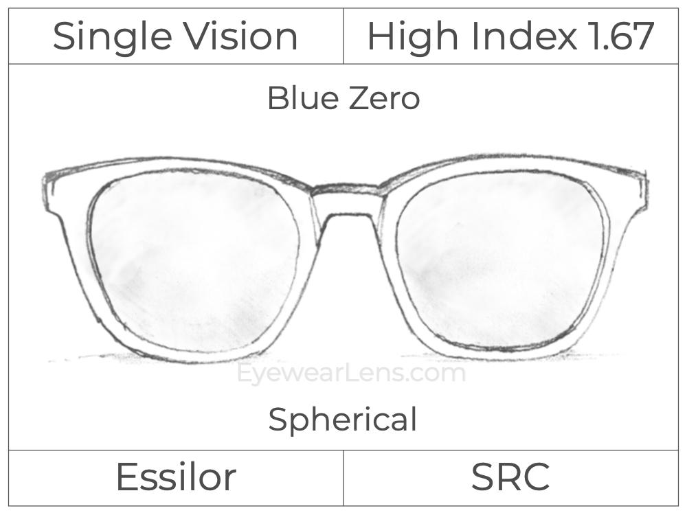 Single Vision - High Index 1.67 - Blue Zero - Spherical