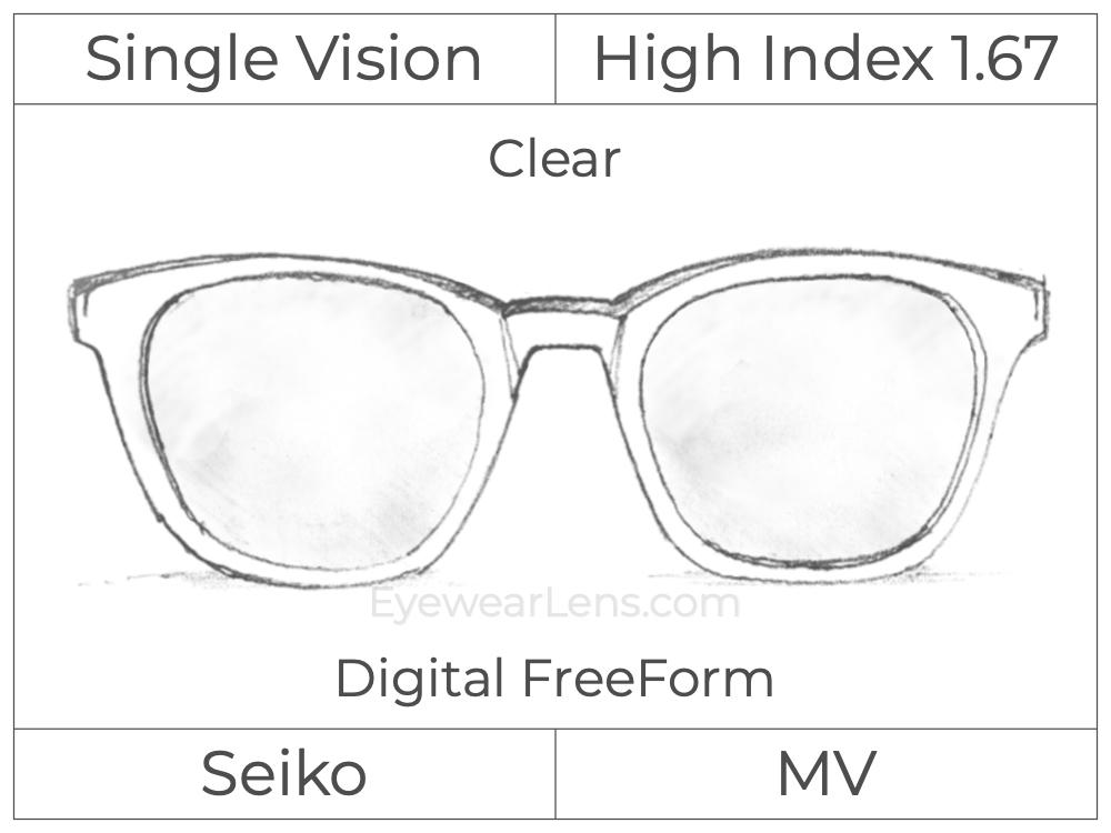 Single Vision - High Index 1.67 - Seiko Super MV - Digital FreeForm - Clear - Double Aspheric