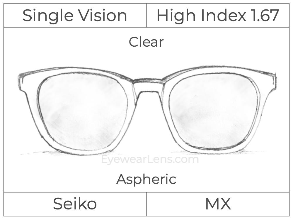 Single Vision - High Index 1.67 - Seiko MX - Clear - Aspheric