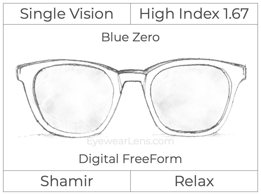 Single Vision - High Index 1.67 - Shamir Relax - Digital FreeForm - Blue Zero - Aspheric