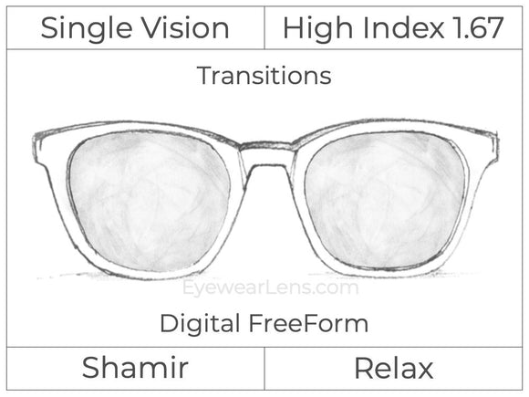 Single Vision - High Index 1.67 - Shamir Relax - Digital FreeForm - Transitions Signature - Aspheric