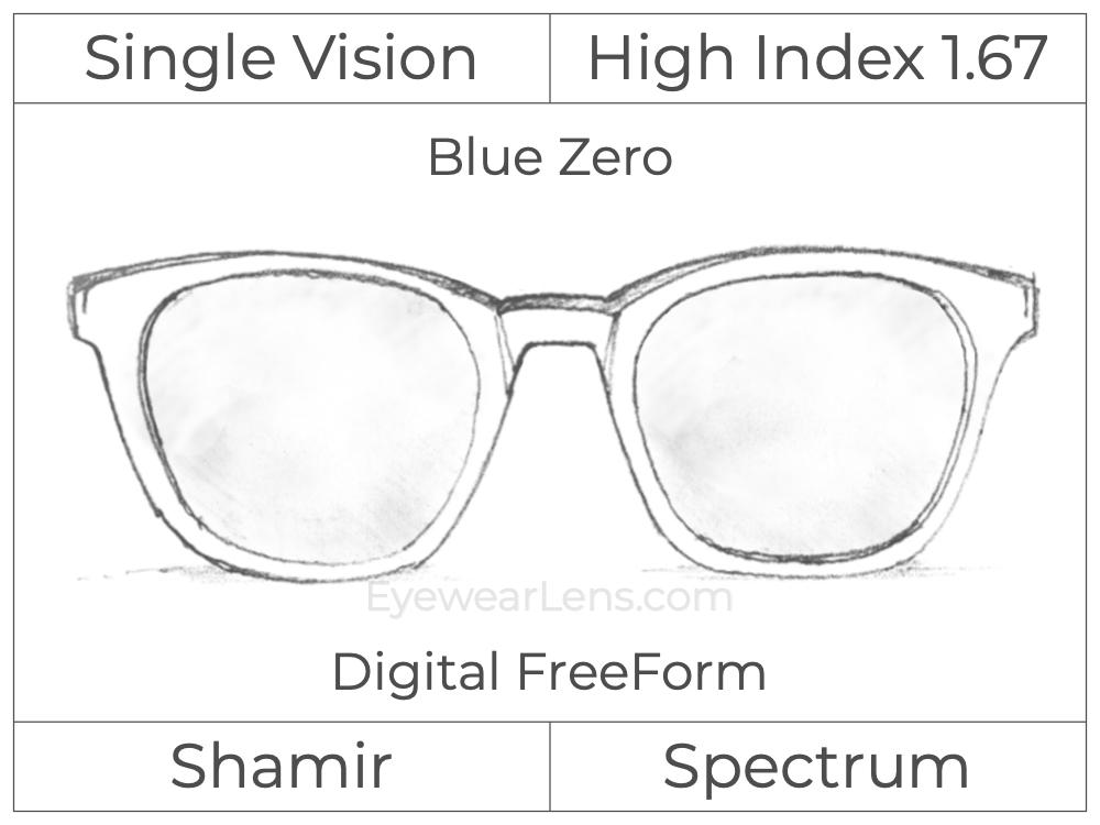 Single Vision - High Index 1.67 - Shamir Spectrum - Digital FreeForm - Blue Zero - Aspheric