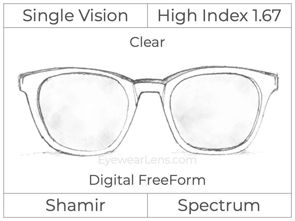 Single Vision - High Index 1.67 - Shamir Spectrum - Digital FreeForm - Clear - Aspheric