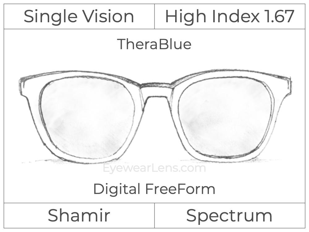 Single Vision - High Index 1.67 - Shamir Spectrum - Digital FreeForm - TheraBlue - Aspheric