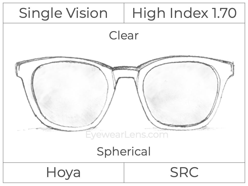 Single Vision - High Index 1.70 - Hoya - Clear - Spherical
