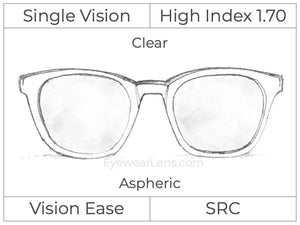 Single Vision - High Index 1.70 - Clear - Aspheric