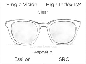 Single Vision - High Index 1.74 - Clear - Aspheric