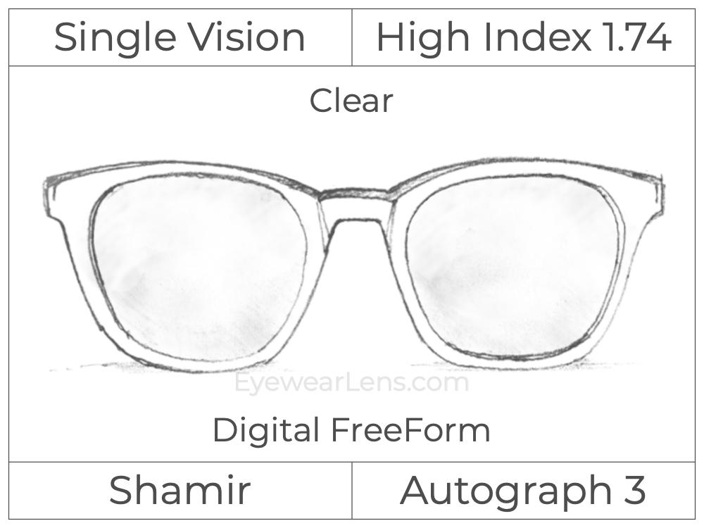 Single Vision - High Index 1.74 - Shamir Autograph 3 - Digital FreeForm - Clear - Aspheric