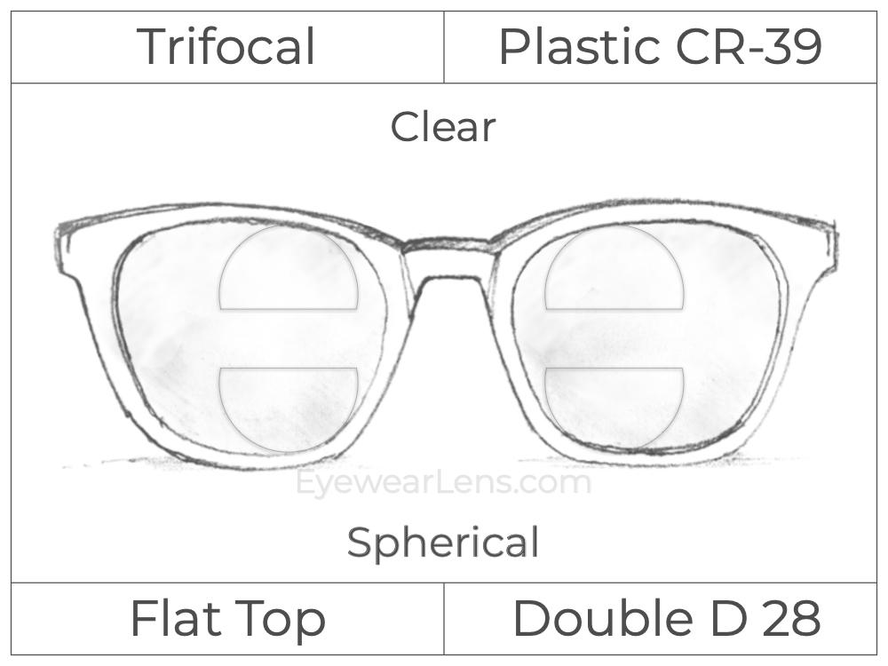 Trifocal - Flat Top - Double D 28 - Occupational - Plastic - Spherical - Clear