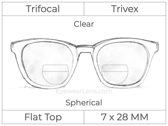 Trifocal - Flat Top 7X28 - Trivex - Spherical - Clear