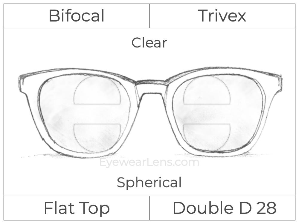 Trifocal - Flat Top - Double D 28 - Occupational - Trivex - Spherical - Clear