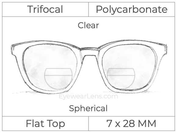 Trifocal - Flat Top 7X28 - Polycarbonate - Spherical - Clear