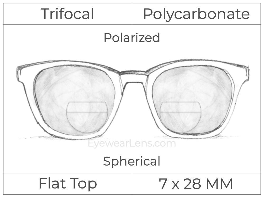 Trifocal - Flat Top 7X28 - Polycarbonate - Spherical - Polarized