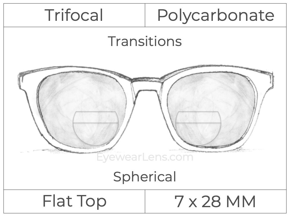 Trifocal - Flat Top 7X28 - Polycarbonate - Spherical - Transitions Signature