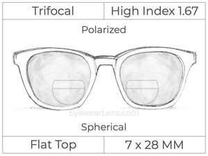 Trifocal - Flat Top 7X28 - High Index 1.67 - Spherical - Polarized