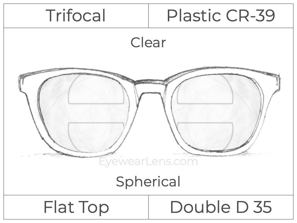 Trifocal - Flat Top - Double D 35 - Occupational - Plastic - Spherical - Clear