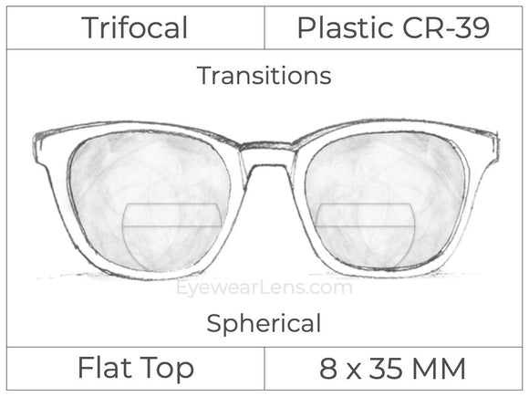 Trifocal - Flat Top 8X35 - Plastic - Spherical - Transitions Signature