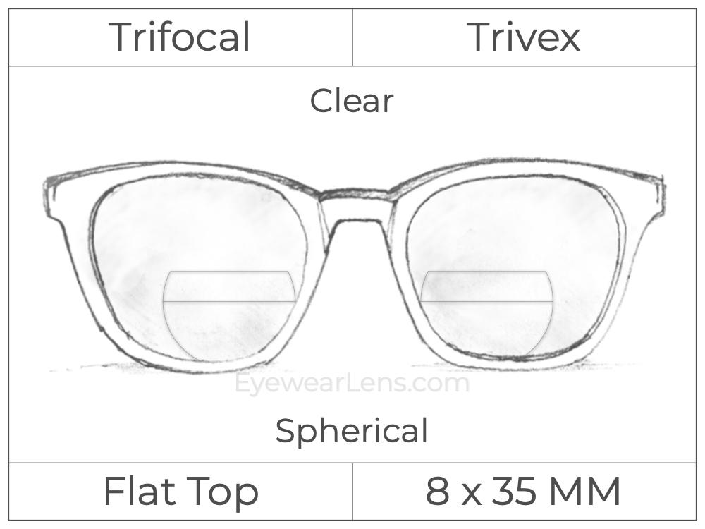 Trifocal - Flat Top 8X35 - Trivex - Spherical - Clear