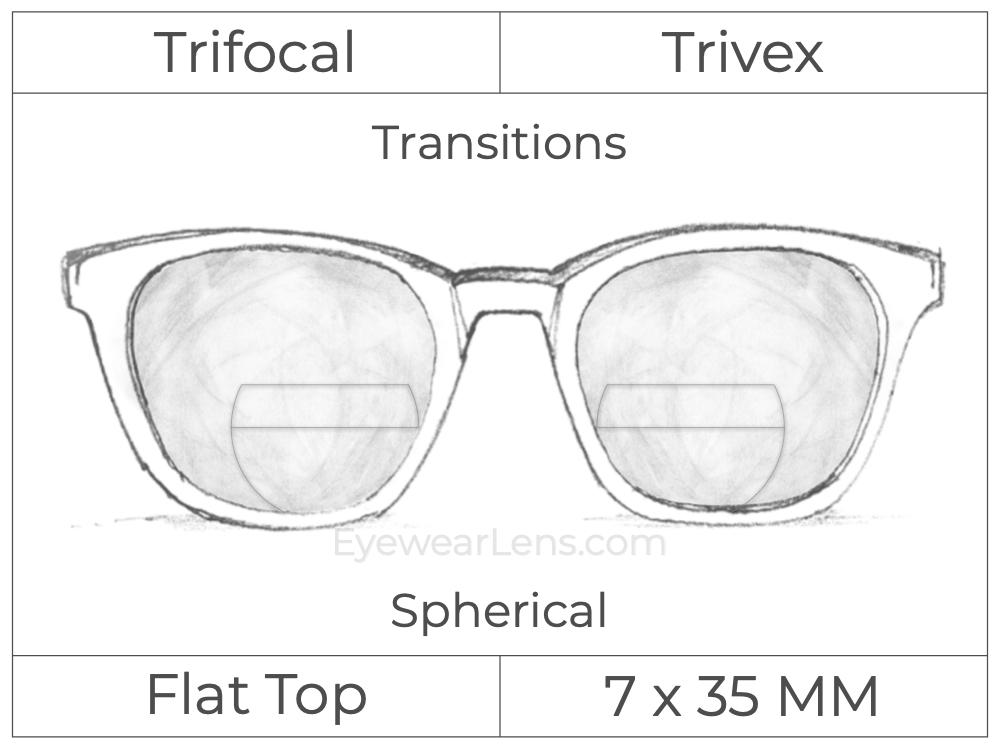 Trifocal - Flat Top 7X35 - Trivex - Spherical - Transitions Signature