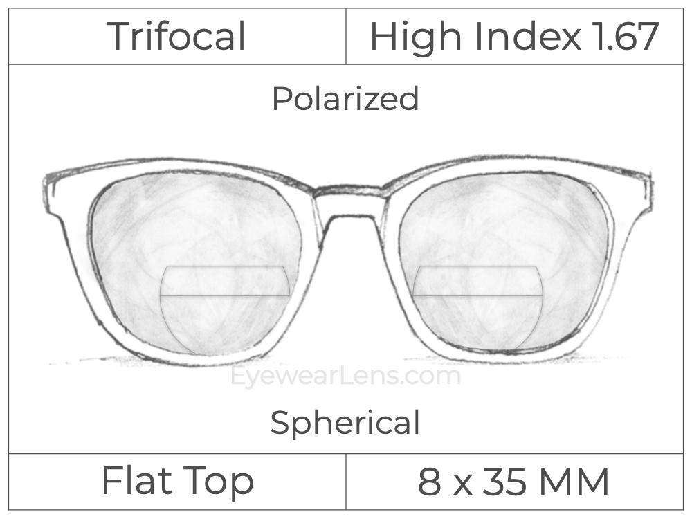 Trifocal - Flat Top 8X35 - High Index 1.67 - Spherical - Polarized