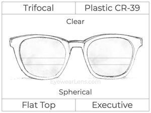 Trifocal - Flat Top Executive - Plastic - Spherical - Clear